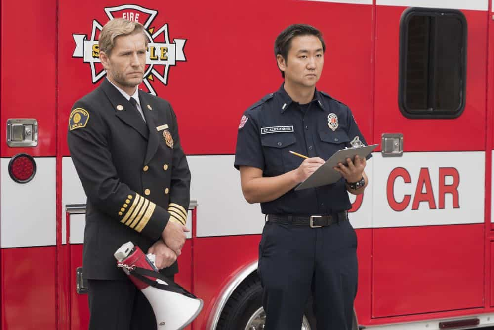 "STATION 19 - ""Stronger Together"" - Andy, Jack and 18 other candidates take the captaincy drill test, gunning for one spot as captain of Station 19. Meanwhile, Travis is serving as acting captain while Andy and Jack are away for the day; and Ben confronts Vic about her fears, on ""Station 19,"" THURSDAY, APRIL 19 (9:00-10:00 p.m. EDT), on The ABC Television Network. (ABC/Eric McCandless) BRETT TUCKER"
