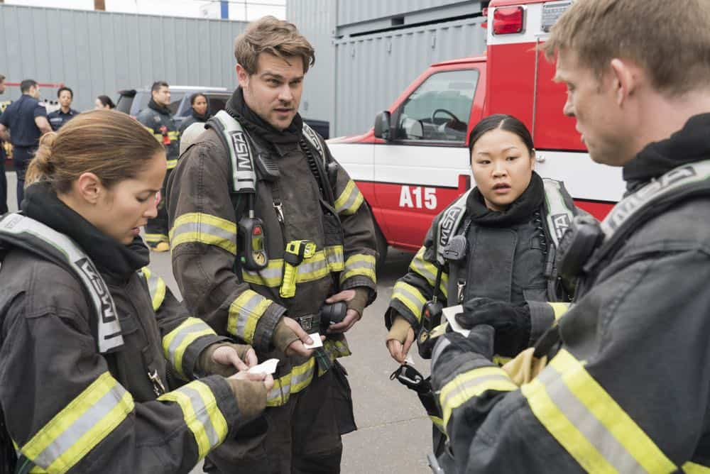 "STATION 19 - ""Stronger Together"" - Andy, Jack and 18 other candidates take the captaincy drill test, gunning for one spot as captain of Station 19. Meanwhile, Travis is serving as acting captain while Andy and Jack are away for the day; and Ben confronts Vic about her fears, on ""Station 19,"" THURSDAY, APRIL 19 (9:00-10:00 p.m. EDT), on The ABC Television Network. (ABC/Eric McCandless) JAINA LEE ORTIZ, GREY DAMON, JEE YOUNG HAN, BRAD BEYER"