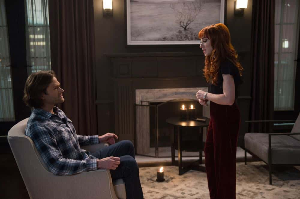 "Supernatural -- ""Funeralia"" -- Image Number: SN1319a_0019b.jpg -- Pictured (L-R): Jared Padalecki as Sam and Ruth Connell as Rowena -- Photo: Diyah Pera/The CW -- © 2018 The CW Network, LLC. All rights reserved"
