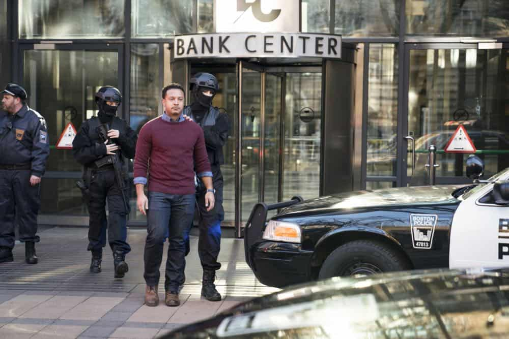 """Alters"" -- As Eric and Zara provide risk assessment services at an investment bank, they are taken hostage by a gunman targeting a low-level accountant, and Eric must negotiate for their release, on RANSOM, Saturday, April 14 (8:00-9:00 PM, ET/PT) on the CBS Television Network.  Pictured: Brandon Jay McLaren (Oliver Yates)  Photo: Dávid Lukács © 2018 Ransom Television Productions Inc."