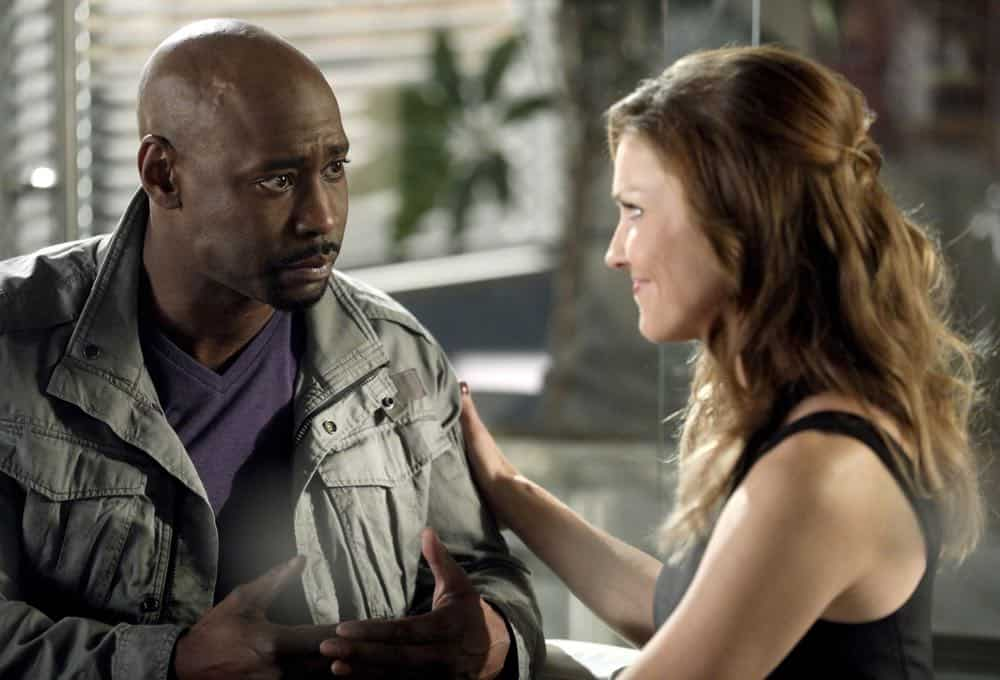 "LUCIFER: L-R: DB Woodside and Tricia Helfer in the ""The Angel of San Bernardino"" episode of LUCIFER airing Monday, April 16 (8:00-9:00 PM ET/PT) on FOX. CR: FOX"