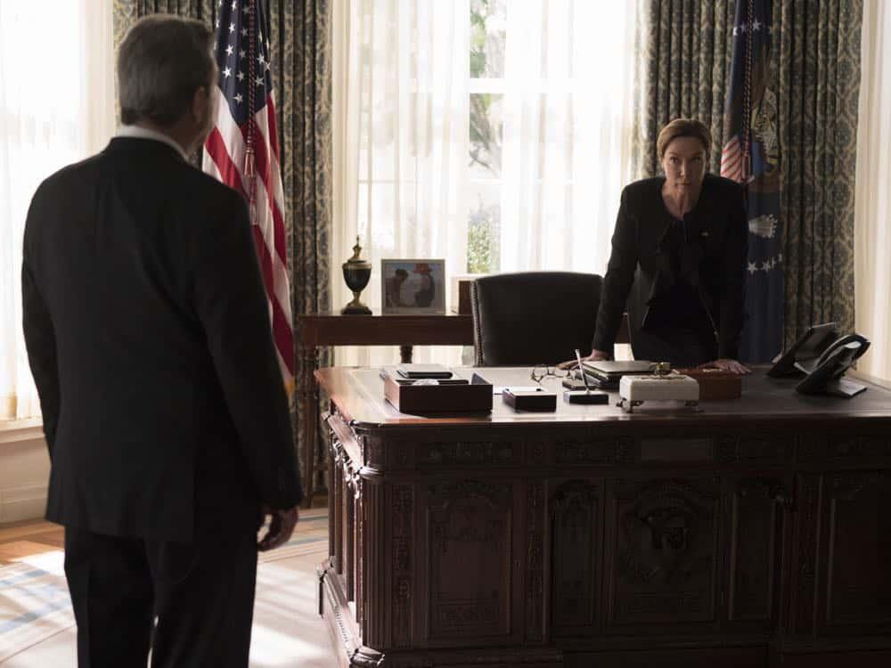 "Beau Bridges as Vice President Marlin and Elizabeth Marvel as President Keane in HOMELAND (Season 7, Episode 10, ""Clarity""). - Photo: Antony Platt/SHOWTIME"