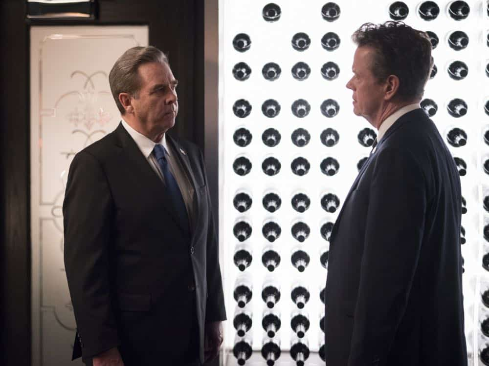 "Beau Bridges as Vice President Marlin and Dylan Baker as Senator Paley in HOMELAND (Season 7, Episode 10, ""Clarity""). - Photo: Antony Platt/SHOWTIME"