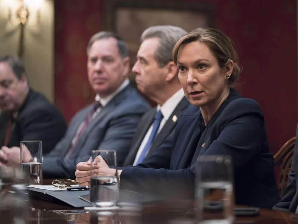 "Elizabeth Marvel as President Keane in HOMELAND (Season 7, Episode 10, ""Clarity""). - Photo: Antony Platt/SHOWTIME"