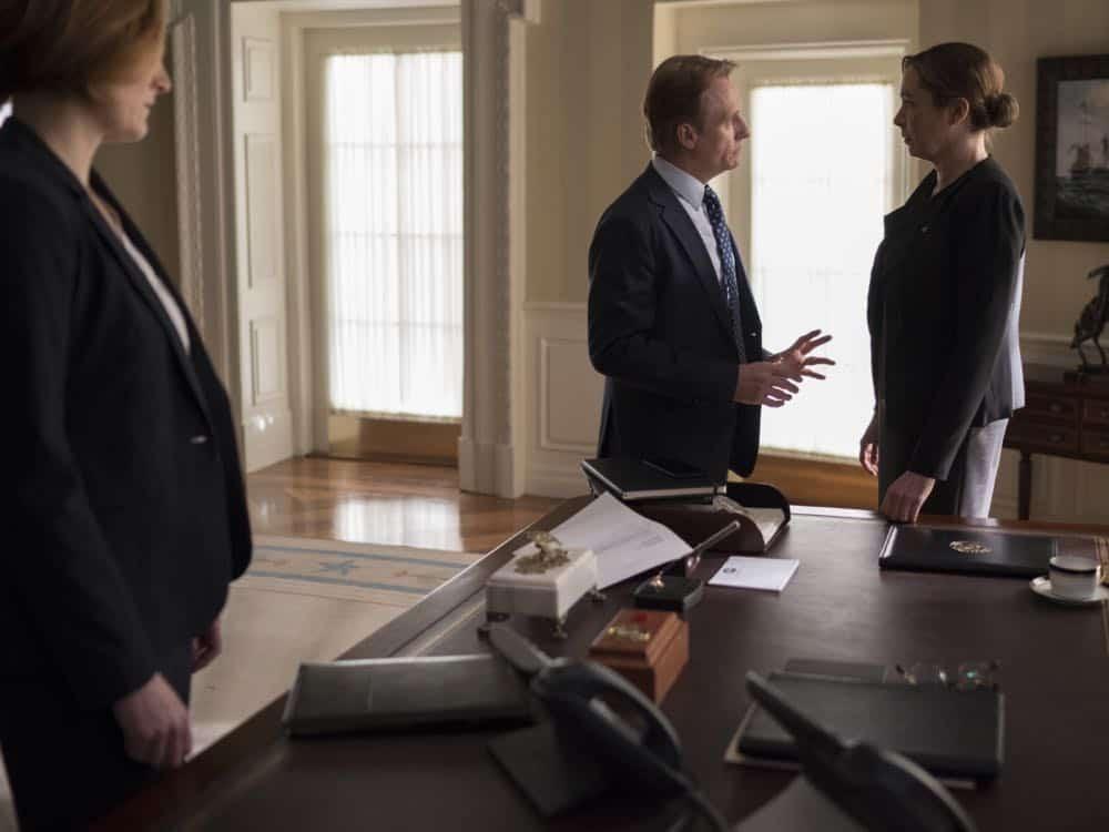 "Linus Roache as David Wellington and Elizabeth Marvel as President Keane in HOMELAND (Season 7, Episode 10, ""Clarity""). - Photo: Antony Platt/SHOWTIME"