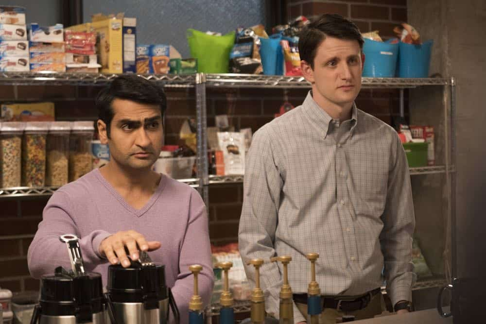 Episode 42 (season 5, episode 4), debut 4/15/18: Kumail Najiani, Zach Woods. photo: Ali Paige Goldstein/HBO