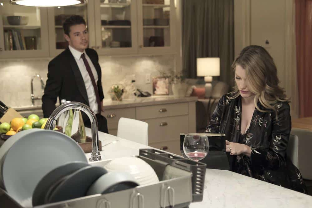 "THE ARRANGEMENT -- ""The Breakup"" Episode 206 -- Pictured: (l-r) Josh Henderson as Kyle West, Christine Evangelista as Megan Morrison -- (Photo by: Eike Schroter/E! Entertainment)"