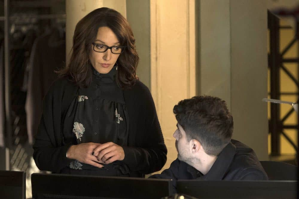 "TAKEN -- ""Imperium"" Episode 212 -- Pictured: (l-r) Jennifer Beals as Christina Hart, Adam Goldberg as Kilroy -- (Photo by: Christos Kalohoridis/NBC)"