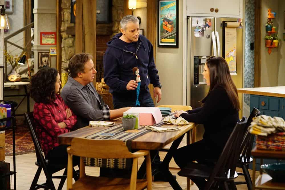 """King For a Day"" -- Adam is determined to figure out what Andi's hiding when he discovers she's been keeping secrets from him for his own good, on MAN WITH A PLAN, Monday, April 16 (8:30-9:00 PM, ET/PT) on the CBS Television Network. Pictured (L-R) Kali Rocha as Marcy Burns, Kevin Nealon as Don Burns,  Matt LeBlanc as Adam Burns and   Liza Snyder as Andi Burns   Photo: Sonja Flemming/CBS ©2018 CBS Broadcasting, Inc. All Rights Reserved"