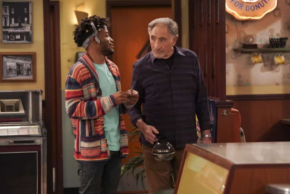 """Pedal to the Meddle""--Arthur's offer to teach Franco to drive hits a speed bump when a cop catches Arthur with an expired license. Also, Tush prepares to attend a princely wedding for his friend Harry, on SUPERIOR DONUTS, Monday, April 16 (9:00-9:30 PM, ET/PT), on the CBS Television Network. Pictured L-R: Jermaine Fowler as Franco and Judd Hirsch as Arthur Photo: Ron P. Jaffe/CBS ©2018 CBS Broadcasting, Inc. All Rights Reserved"