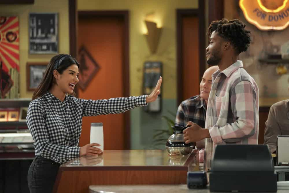 """Pedal to the Meddle""--Arthur's offer to teach Franco to drive hits a speed bump when a cop catches Arthur with an expired license. Also, Tush prepares to attend a princely wedding for his friend Harry, on SUPERIOR DONUTS, Monday, April 16 (9:00-9:30 PM, ET/PT), on the CBS Television Network. Pictured L-R: Diane Guerrero as Sofia, David Koechner as Tush, and Jermaine Fowler as Franco Photo: Ron P. Jaffe/CBS ©2018 CBS Broadcasting, Inc. All Rights Reserved"