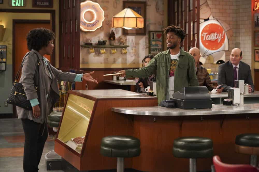 """Pedal to the Meddle""--Arthur's offer to teach Franco to drive hits a speed bump when a cop catches Arthur with an expired license. Also, Tush prepares to attend a princely wedding for his friend Harry, on SUPERIOR DONUTS, Monday, April 16 (9:00-9:30 PM, ET/PT), on the CBS Television Network. Pictured L-R: Cesili Williams as Customer, Diane Guerrero as Sofia, Jermaine Fowler as Franco, Maz Jobrani as Fawz, and David Koechner as Tush Photo: Ron P. Jaffe/CBS ©2018 CBS Broadcasting, Inc. All Rights Reserved"