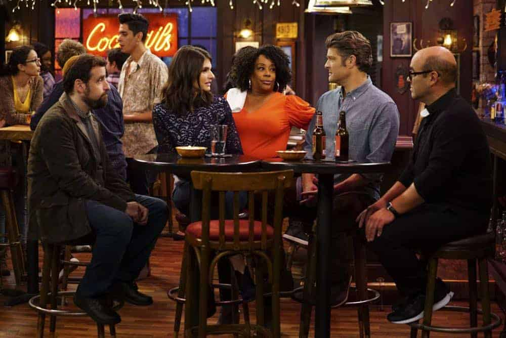 ÒShow HospitalityÓ Ð Chip and LeslieÕs patience is tested when they invite Rabbi Gil to stay with them after he discovers his wife is having an affair, on LIVING BIBLICALLY, Monday, April 16 (9:30-10:00PM, ET/PT) on the CBS Television Network. Pictured L-R: David Krumholtz as Rabbi Gil, Lindsey Kraft as Leslie, Carla Renata as Gracie, Jay R. Ferguson as Chip, and Ian Gomez as Father Gene Photo: Sonja Flemming/CBS ©2017 CBS Broadcasting, Inc. All Rights Reserved