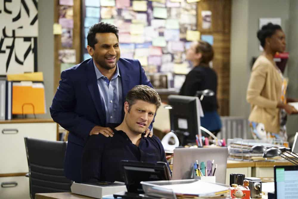 ÒShow HospitalityÓ Ð Chip and LeslieÕs patience is tested when they invite Rabbi Gil to stay with them after he discovers his wife is having an affair, on LIVING BIBLICALLY, Monday, April 16 (9:30-10:00PM, ET/PT) on the CBS Television Network. Pictured L-R: Ravi Patel as Doug and Jay R. Ferguson as Chip Photo: Sonja Flemming/CBS ©2017 CBS Broadcasting, Inc. All Rights Reserved