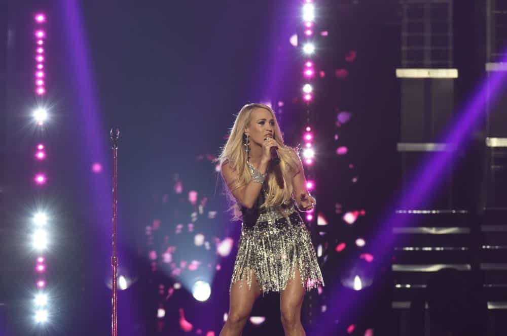 Carrie Underwood performs at the 53RD ACADEMY OF COUNTRY MUSIC AWARDS, live from the MGM Grand Garden Arena in Las Vegas Sunday, April 15, 2018 at 8:00 PM ET/PT on CBS.  Photo: Michele Crowe/CBS ©2018 CBS Broadcasting, Inc. All Rights Reserved