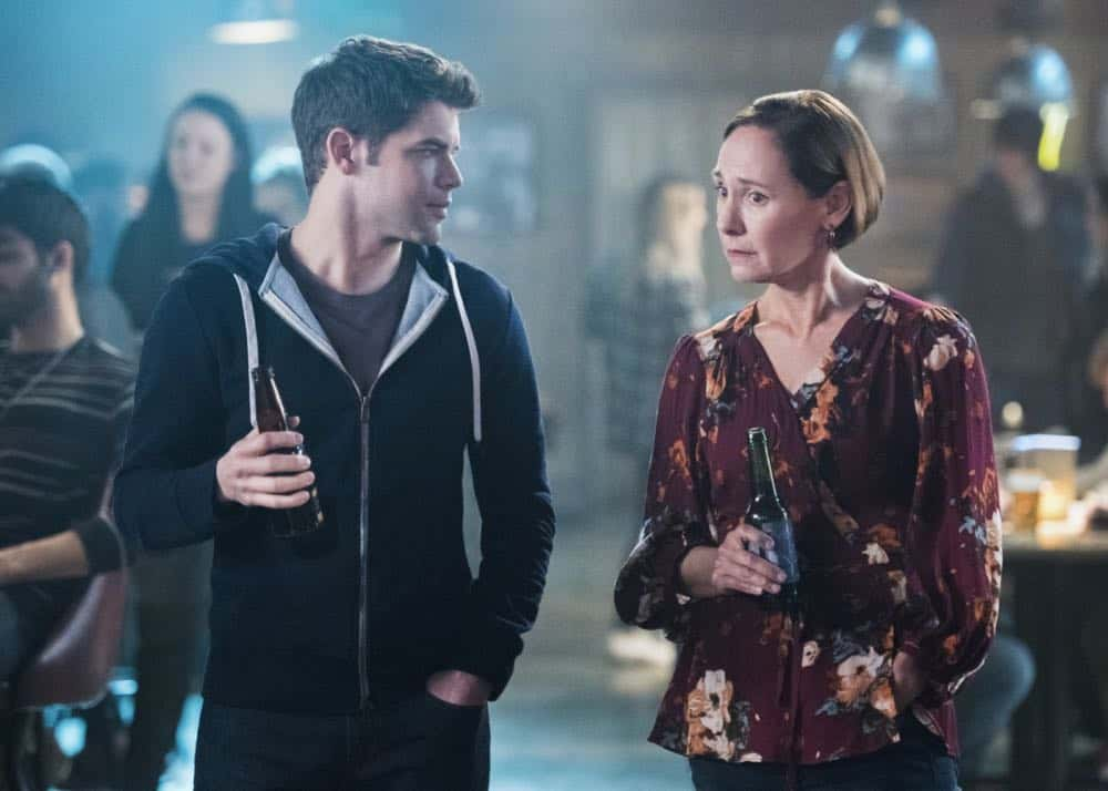 "Supergirl -- ""Schott Through the Heart"" -- Image Number: SPG314b_0286.jpg -- Pictured (L-R): Jeremy Jordan as Winn and Laurie Metcalf as Mary McGowan -- Photo: Dean Buscher/The CW -- © 2018 The CW Network, LLC. All rights reserved."