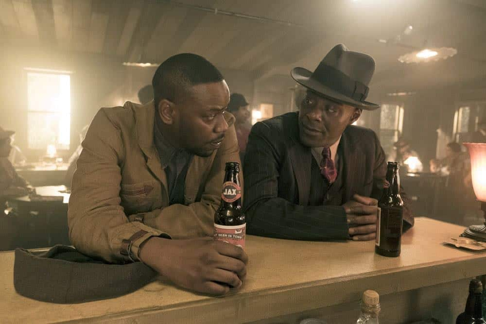 "TIMELESS -- ""King of Delta Blues"" Episode 206 -- Pictured: (l-r) Malcolm Barrett as Rufus Carlin, Paterson Joseph as Connor Mason -- (Photo by: Justin Lubin/NBC)"