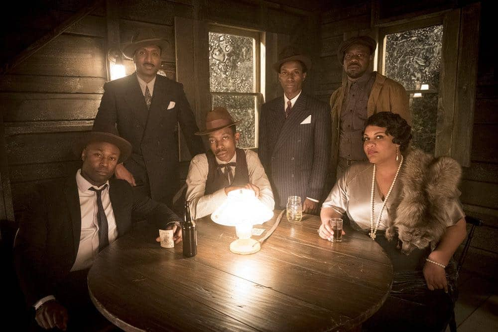 """TIMELESS -- """"King of Delta Blues"""" Episode 206 -- Pictured: (l-r) Wiley B. Oscar as Muddy Waters, Keith Machekanyanga as Son House, Kamal Naiqui as Robert Johnson, Malcolm Barrett as Rufus Carlin, Radha Blank as Bessie Smith -- (Photo by: Justin Lubin/NBC)"""