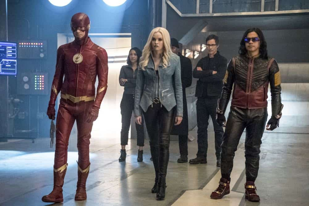"""The Flash -- """"Lose Yourself"""" -- Image Number: FLA418a_0302b.jpg -- Pictured (L-R): Grant Gustin as The Flash, Candice Patton as Iris West, Danielle Panabaker as Caitlin Snow/Killer Frost, Jesse L. Martin as Detective Joe West, Tom Cavanagh as Harrison Wells and Carlos Valdes as Cisco Ramon/Vibe -- Photo: Katie Yu/The CW -- © 2018 The CW Network, LLC. All rights reserved"""