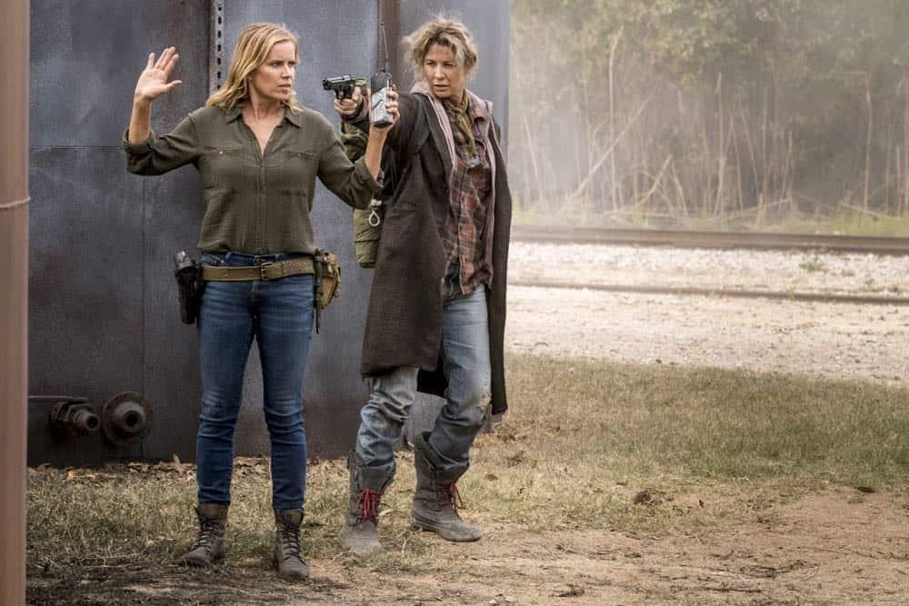 Kim Dickens as Madison Clark, Jenna Elfman as Naomi- Fear the Walking Dead _ Season 4, Episode 2 - Photo Credit: Richard Foreman, Jr/AMC