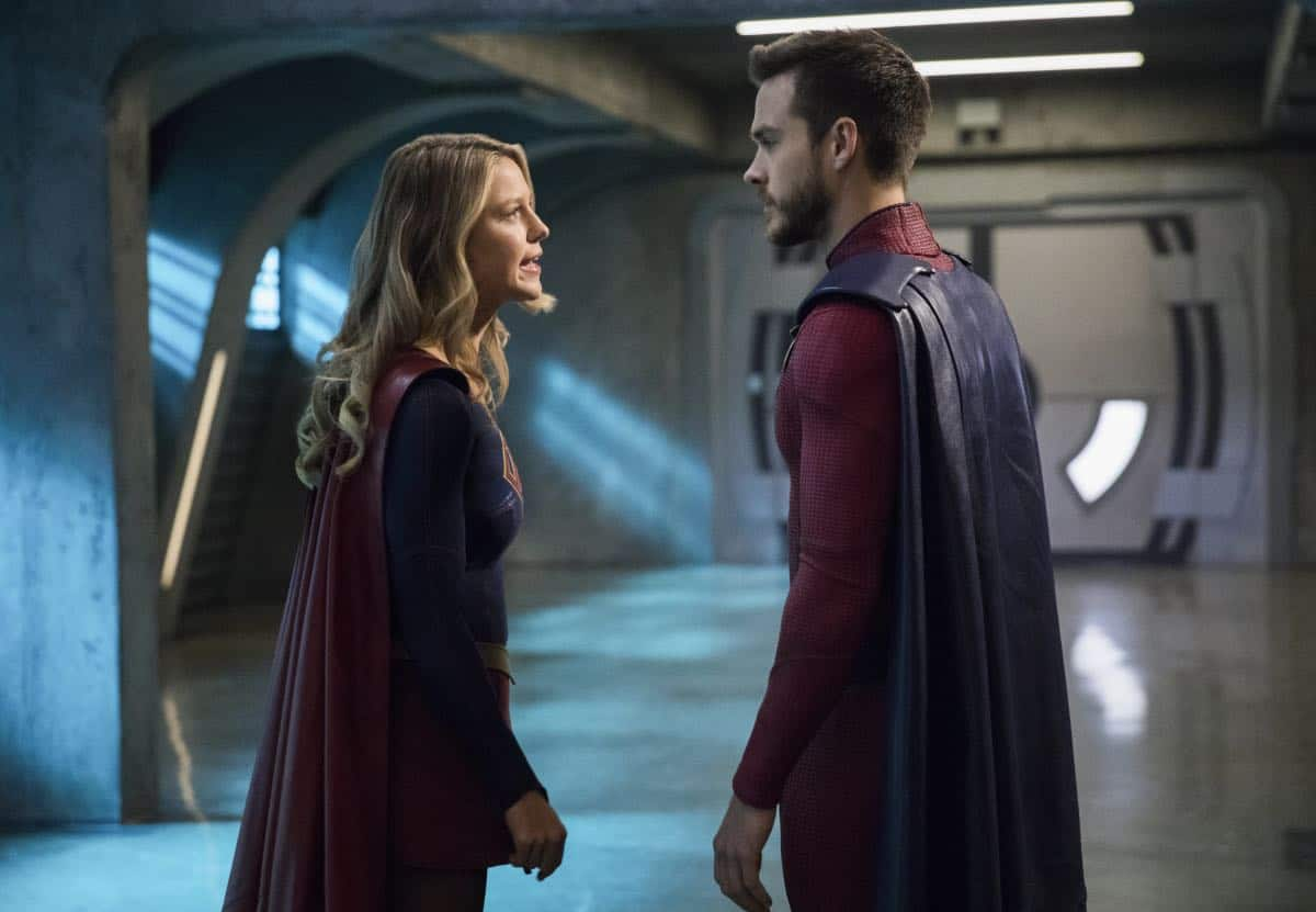 """Supergirl -- """"In Search of Lost Time"""" -- Image Number: SPG315b_0073.jpg -- Pictured (L-R): Melissa Benoist as Kara/Supergirl and Chris Wood as Mon-El -- Photo: Jack Rowand/The CW -- © 2018 The CW Network, LLC. All Rights Reserved."""