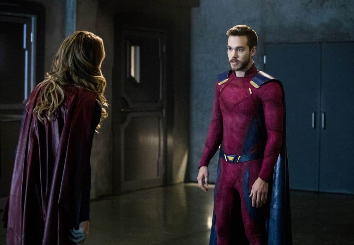 """Supergirl -- """"In Search of Lost Time"""" -- Image Number: SPG315b_0161.jpg -- Pictured (L-R): Melissa Benoist as Kara/Supergirl and Chris Wood as Mon-El -- Photo: Jack Rowand/The CW -- © 2018 The CW Network, LLC. All Rights Reserved."""