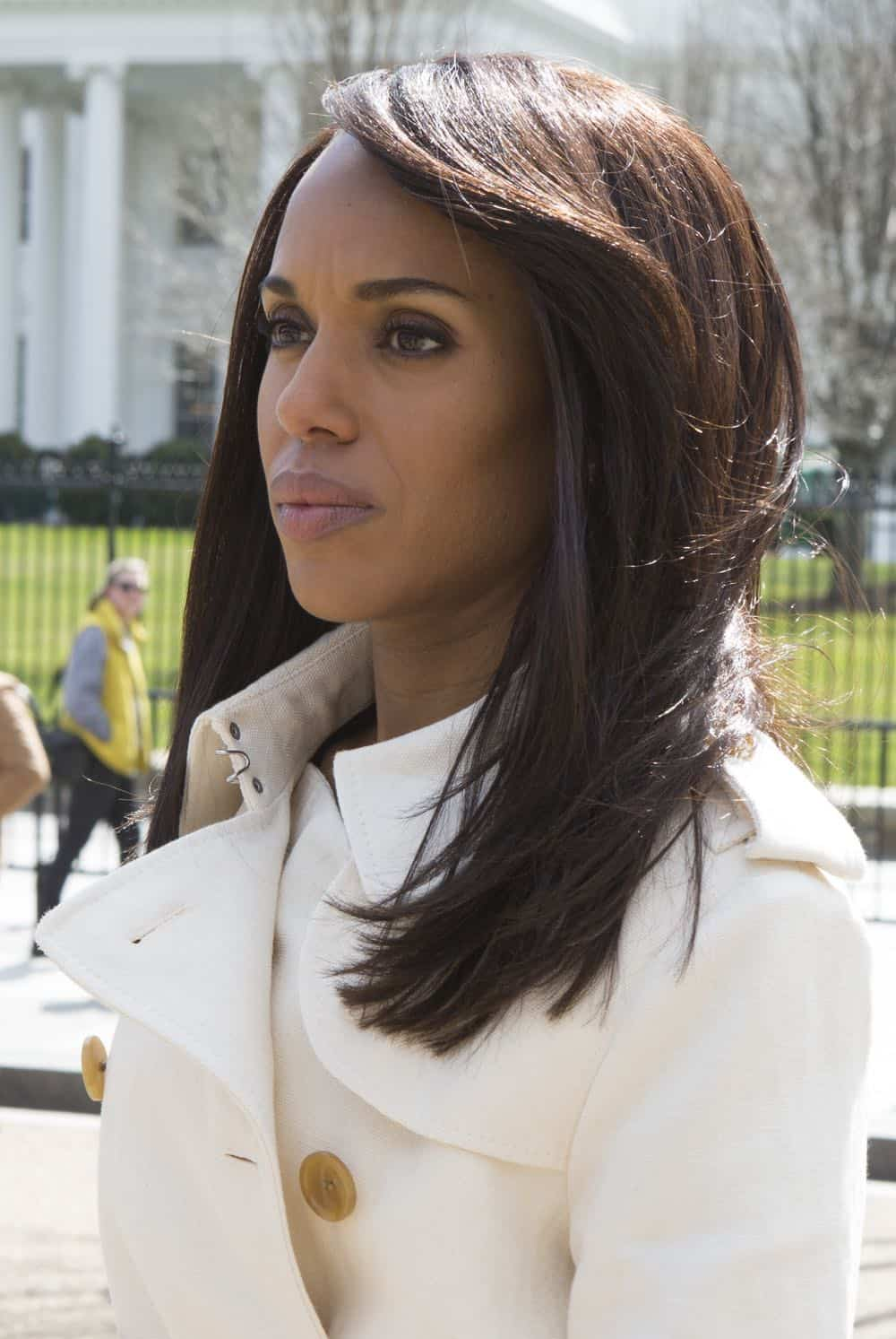 "SCANDAL - ""Over A Cliff"" - The highly anticipated series finale of the groundbreaking series, ""Scandal,"" receives a momentous send-off, beginning with an exclusive sneak peek at the final episode on ""Good Morning America,"" THURSDAY, APRIL 19 (7:00-9:00 a.m. EDT), on The ABC Television Network. (ABC/Giovanni Rufino) KERRY WASHINGTON"