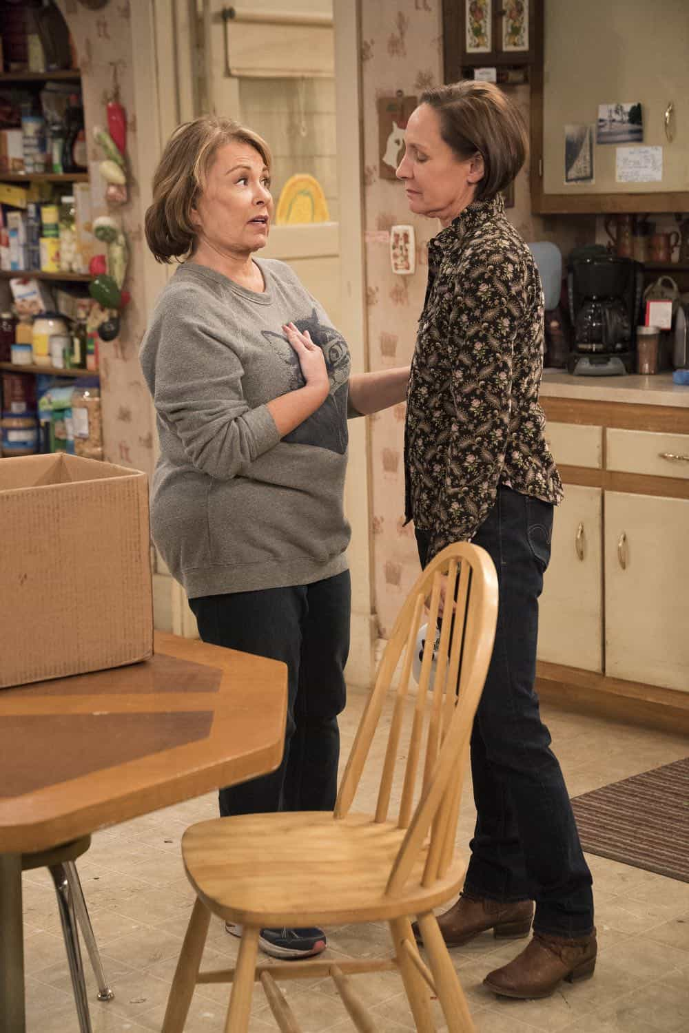 "ROSEANNE - ""No Country for Old Women"" - After Beverly gets kicked out of the nursing home, Roseanne and Jackie fight over who will take care of their mother. Meanwhile, Mark's creative touch with building a birdhouse for Dan's customer is more than Dan can handle, but Darlene defends her son, on the sixth episode of the revival of ""Roseanne,"" TUESDAY, MAY 1 (8:00-8:30 p.m. EDT), on The ABC Television Network. (ABC/Greg Gayne) ROSEANNE BARR, LAURIE METCALF"