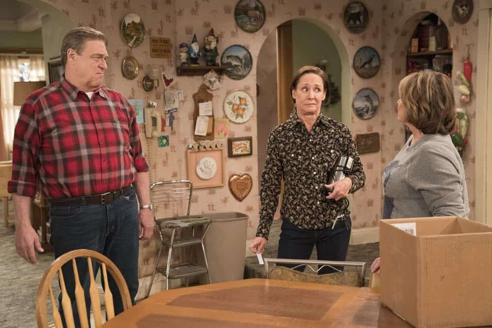 "ROSEANNE - ""No Country for Old Women"" - After Beverly gets kicked out of the nursing home, Roseanne and Jackie fight over who will take care of their mother. Meanwhile, Mark's creative touch with building a birdhouse for Dan's customer is more than Dan can handle, but Darlene defends her son, on the sixth episode of the revival of ""Roseanne,"" TUESDAY, MAY 1 (8:00-8:30 p.m. EDT), on The ABC Television Network. (ABC/Greg Gayne) JOHN GOODMAN, LAURIE METCALF, ROSEANNE BARR"