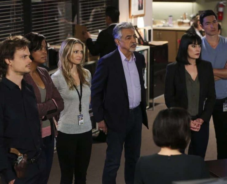 """Believer"" -- When Reid discovers former FBI Special Agent Owen Quinn (James Urbaniak) locked inside a storage unit, the BAU questions the credibility of Quinn's bizarre accounts of searching for an UnSub that he named ""The Strangler,"" on the second episode of the double-episode 13th season finale cliffhanger of CRIMINAL MINDS, Wednesday, April 18 (10:00-11:00 PM, ET/PT) on the CBS Television Network. Pictured: Matthew Gray Gubler (Dr. Spencer Reid), Aisha Tyler (Dr. Tara Lewis), A.J. Cook (Jennifer Jareau), Joe Mantegna (David Rossi), Paget Brewster (Emily Prentiss), Daniel Henney (Matt Simmons) Photo: Michael Yarish/CBS ©2018 CBS Broadcasting, Inc. All Rights Reserved"