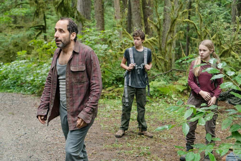 "COLONY -- ""Maquis"" Episode 301 -- Pictured: (l-r) Peter Jacobson as Proxy Alan Snyder, Jacob Buster as Charlie Bowman, Isabella Crovetti-Cramp as Grace Bowman -- (Photo by: Daniel Power/USA Network)"