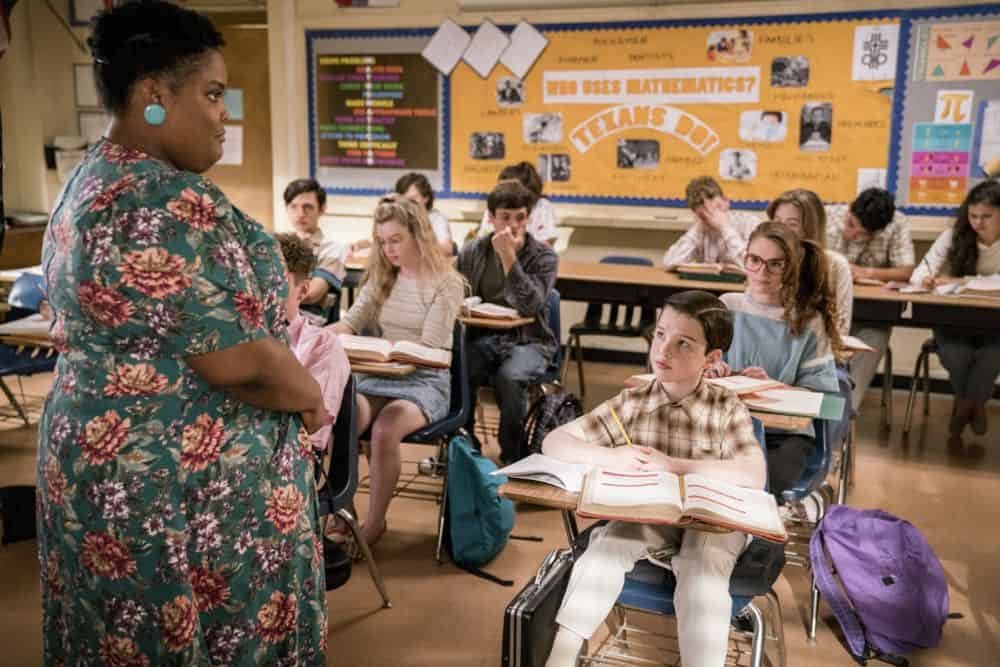 """Gluons, Guacamole, and the Color Purple"" - Pictured: Ms. Ingram (Danielle Pinnock) and Sheldon (Iain Armitage). When Sheldon is no longer academically challenged at Medford High, he audits a college class taught by Dr. John Sturgis (Wallace Shawn), on YOUNG SHELDON, Thursday, April 19 (8:31-9:01 PM, ET/PT) on the CBS Television Network. Photo: Michael Desmond/Warner Bros. Entertainment Inc. © 2018 WBEI. All rights reserved."