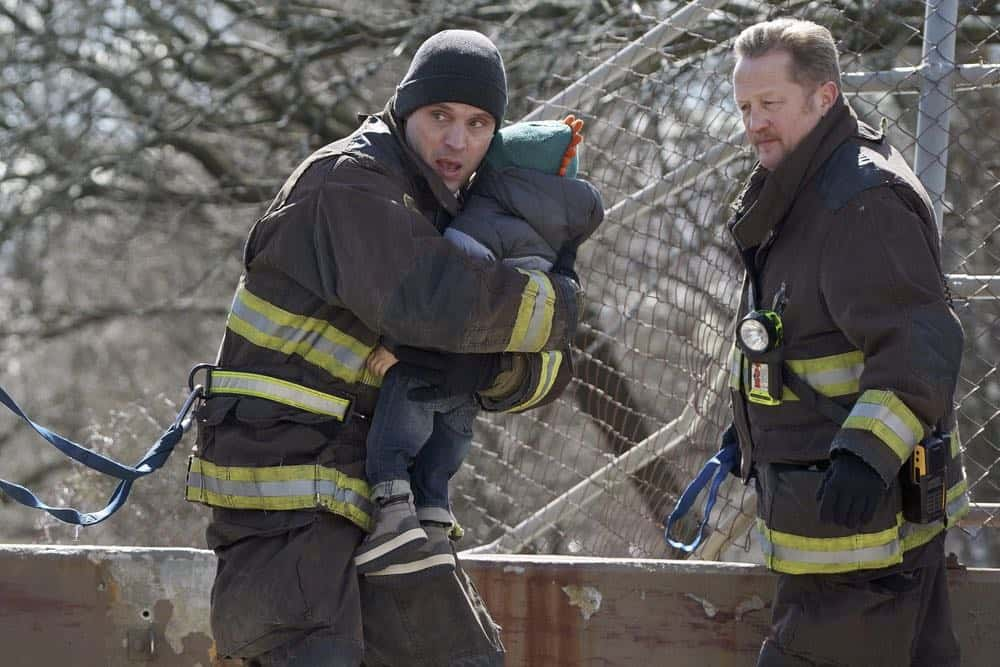"CHICAGO FIRE -- ""Where I Want To Be"" Episode 619 -- Pictured: (l-r) Jesse Spencer as Matthew Casey, Christian Stolte as Mouch -- (Photo by: Elizabeth Morris/NBC)"