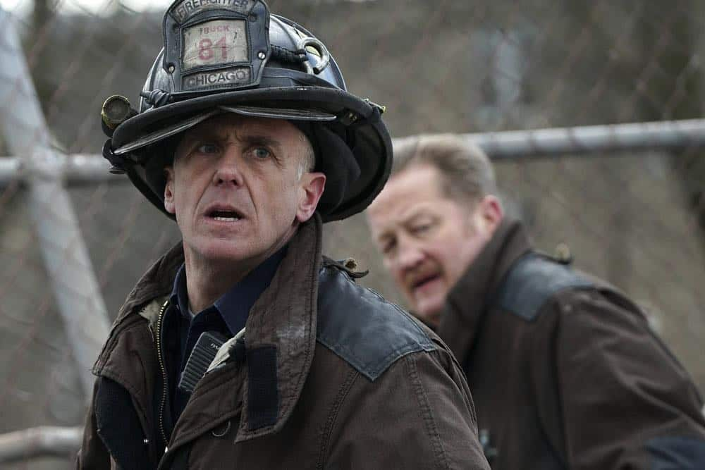 "CHICAGO FIRE -- ""Where I Want To Be"" Episode 619 -- Pictured: (l-r) David Eigenberg as Christopher Herrmann, Christian Stolte as Mouch -- (Photo by: Elizabeth Morris/NBC)"