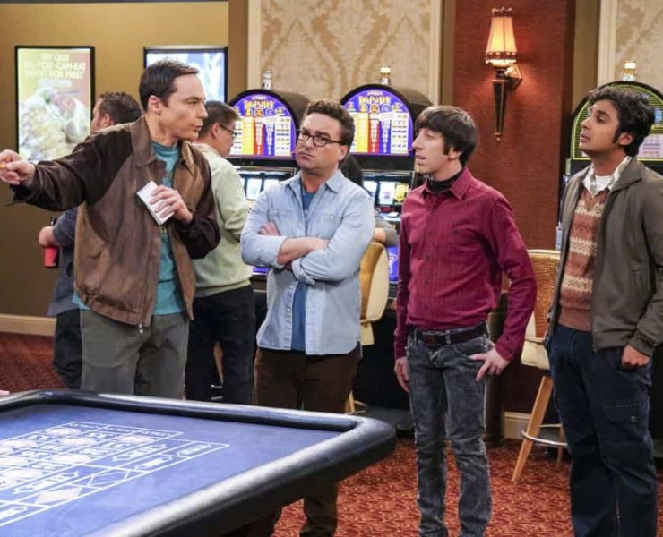 """""""The Monetary Insufficiency"""" - Pictured: Sheldon Cooper (Jim Parsons), Leonard Hofstadter (Johnny Galecki), Howard Wolowitz (Simon Helberg) and Rajesh Koothrappali (Kunal Nayyar). Sheldon goes to Vegas to win money for science. Also, Penny and Bernadette take Amy wedding dress shopping, but her terrible choice entangles them in a web of lies, on THE BIG BANG THEORY, Thursday, April 26 (8:00-8:31 PM, ET/PT) on the CBS Television Network. Photo: Bill Inoshita/CBS ©2018 CBS Broadcasting, Inc. All Rights Reserved."""
