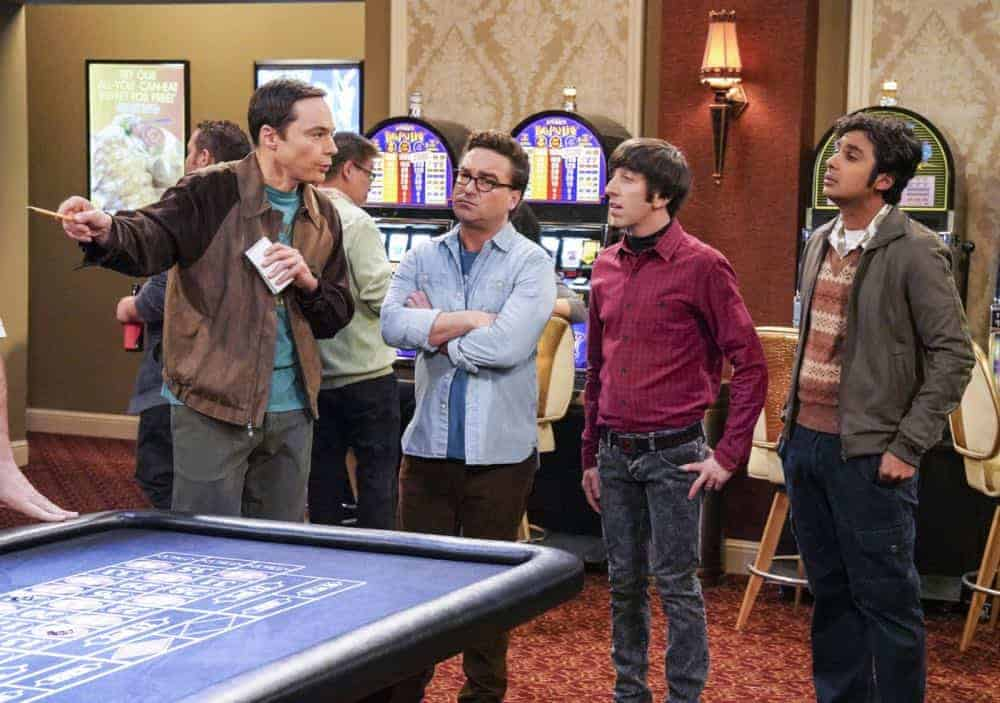 """The Monetary Insufficiency"" - Pictured: Sheldon Cooper (Jim Parsons), Leonard Hofstadter (Johnny Galecki), Howard Wolowitz (Simon Helberg) and Rajesh Koothrappali (Kunal Nayyar). Sheldon goes to Vegas to win money for science. Also, Penny and Bernadette take Amy wedding dress shopping, but her terrible choice entangles them in a web of lies, on THE BIG BANG THEORY, Thursday, April 26 (8:00-8:31 PM, ET/PT) on the CBS Television Network. Photo: Bill Inoshita/CBS ©2018 CBS Broadcasting, Inc. All Rights Reserved."