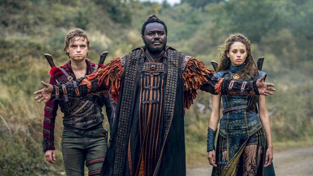 Dean-Charles Chapman as Castor, Babou Ceesay as Pilgrim, Ella-Rae Smith as Nix - Into the Badlands _ Season 3, Episode 1 - Photo Credit: Aidan Monaghan/AMC