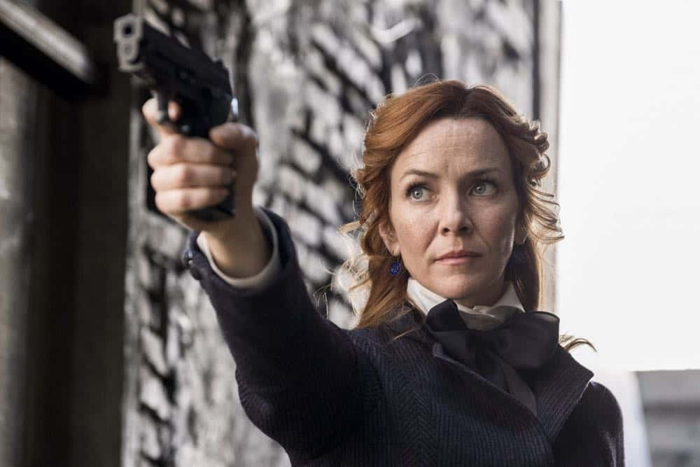 "TIMELESS -- ""Mrs. Sherlock Holmes"" Episode 207 -- Pictured: Annie Wersching as Emma Whitmore -- (Photo by: Justin Lubin/NBC)"