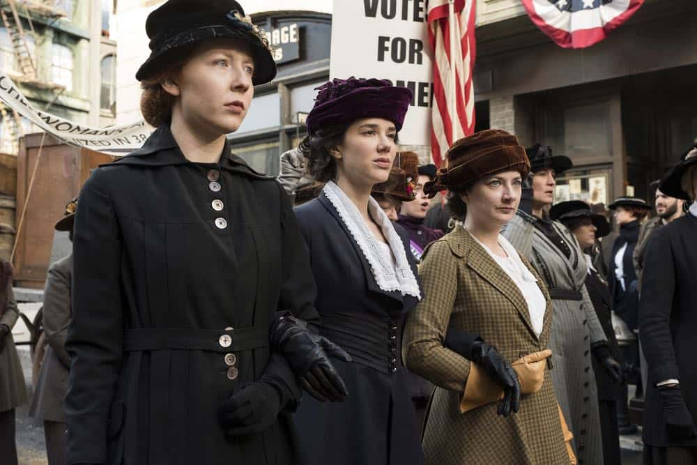 "TIMELESS -- ""Mrs. Sherlock Holmes"" Episode 207 -- Pictured: (l-r) Glennellen Anderson as Jane, Erica Dasher as Alice Paul, Lauren Baldwin as Mary -- (Photo by: Justin Lubin/NBC)"