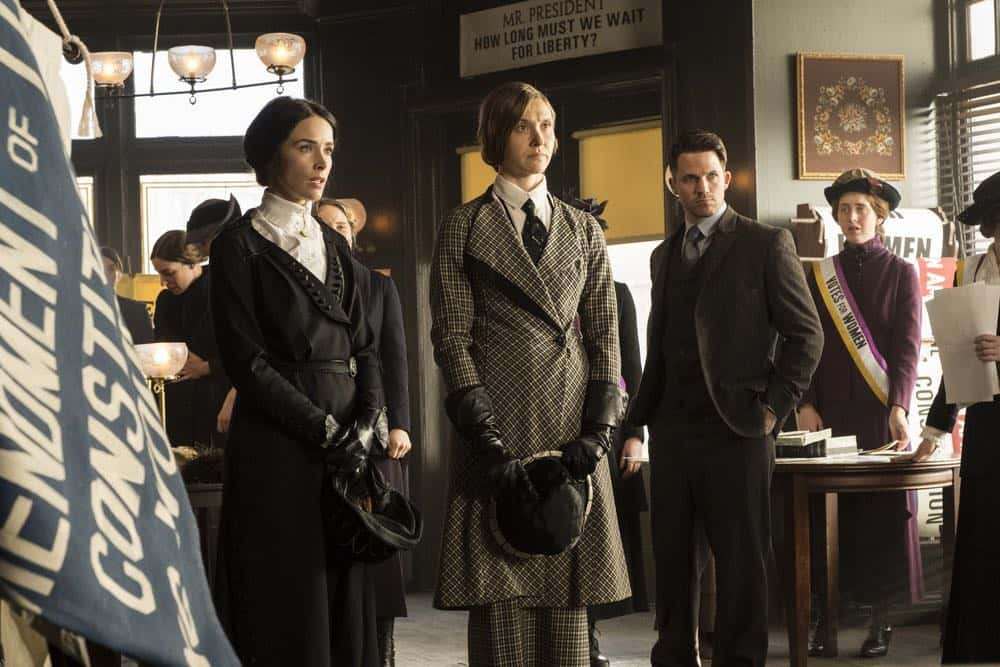 "TIMELESS -- ""Mrs. Sherlock Holmes"" Episode 207 -- Pictured: (l-r) Abigail Spencer as Lucy Preston, Sarah Sokolovic as Grace Humiston, Matt Lanter as Wyatt Logan -- (Photo by: Justin Lubin/NBC)"