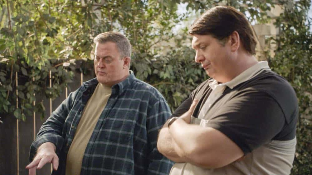 """""""A Dog, a Squirrel, and a Fish Named Fish"""" - Pictured: Herschel Sparks (Billy Gardell) and George, Sr. (Lance Barber). A battle erupts between the Coopers and Sparks when the Sparks' new dog terrorizes Sheldon, on YOUNG SHELDON, Thursday, April 26 (8:31-9:01 PM, ET/PT) on the CBS Television Network. Photo: Screen Grab/Warner Bros. Entertainment Inc. © 2018 WBEI. All rights reserved."""