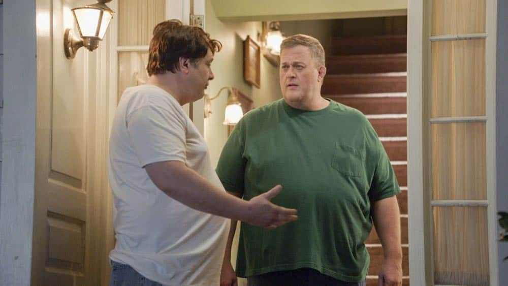 """""""A Dog, a Squirrel, and a Fish Named Fish"""" - Pictured: George, Sr. (Lance Barber) and Herschel Sparks (Billy Gardell). A battle erupts between the Coopers and Sparks when the Sparks' new dog terrorizes Sheldon, on YOUNG SHELDON, Thursday, April 26 (8:31-9:01 PM, ET/PT) on the CBS Television Network. Photo: Screen Grab/Warner Bros. Entertainment Inc. © 2018 WBEI. All rights reserved."""