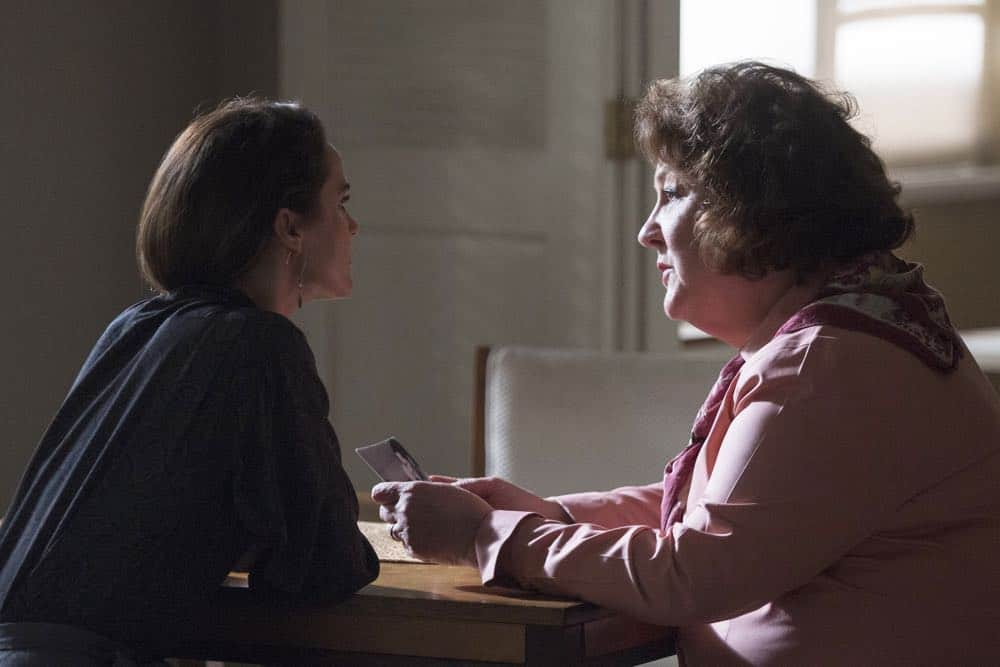 "THE AMERICANS -- ""The Great Patriotic War"" -- Season 6, Episode 5 (Airs Wednesday, April 25, 10:00 pm/ep) -- Pictured: (l-r) Keri Russell as Elizabeth Jennings, Margo Martindale as Claudia. CR: Eric Liebowitz/FX"