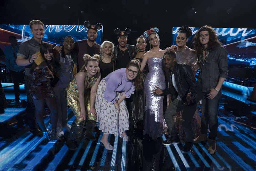 "AMERICAN IDOL - ""114 (Top 10 Reveal)"" - America's votes are in and live shows begin, as the top 14 contestants perform and the top 10 finalists are revealed, as the search for America's next superstar continues on its new home on America's network, The ABC Television Network, MONDAY, APRIL 23 (8:00-10:00 p.m. EDT). (ABC/Eric McCandless) CALEB LEE HUTCHINSON, MICHELLE SUSSETT, MICHAEL J. WOODARD, LUKE BRYAN, MADDIE POPPE, GABBY BARRETT, LIONEL RICHIE, CATIE TURNER, JURNEE, KATY PERRY, DENNIS LORENZO, ADA VOX, CADE FOEHNER"