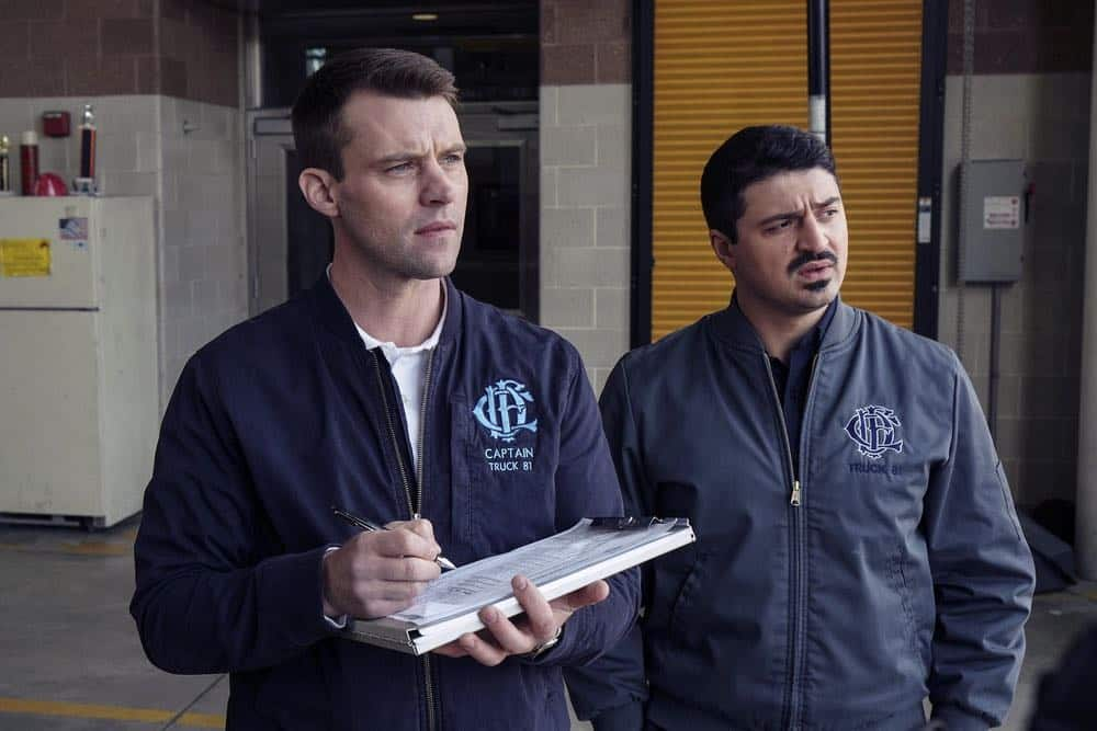 "CHICAGO FIRE -- ""The Strongest Among Us"" Episode 620 -- Pictured: (l-r) Jesse Spencer as Matthew Casey, Yuri Sardarov as Otis -- (Photo by: Elizabeth Morris/NBC)"
