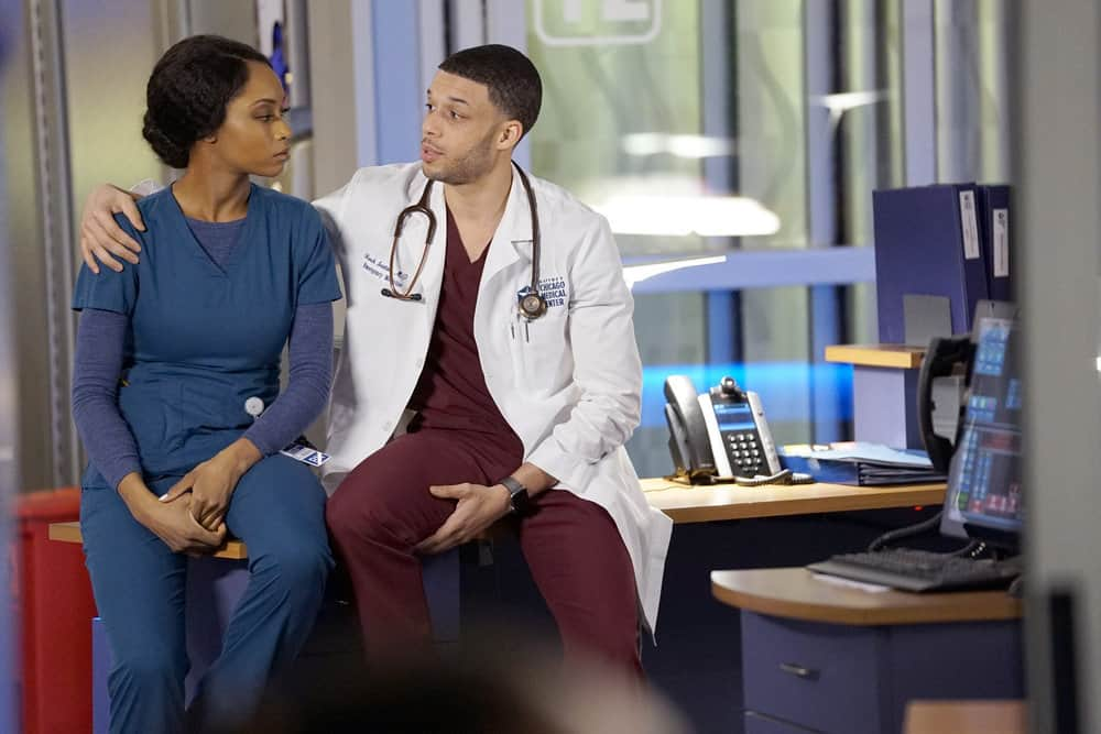 "CHICAGO MED -- ""The Parent Trap"" Episode 317 -- Pictured: (l-r) Yaya DaCosta as April Sexton, Roland Buck III as Noah Sexton -- (Photo by: Elizabeth Sisson/NBC)"