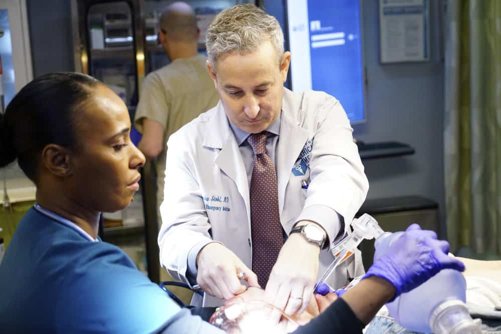 "CHICAGO MED -- ""The Parent Trap"" Episode 317 -- Pictured: Eddie Jemison as Dr. Stohl -- (Photo by: Elizabeth Sisson/NBC)"
