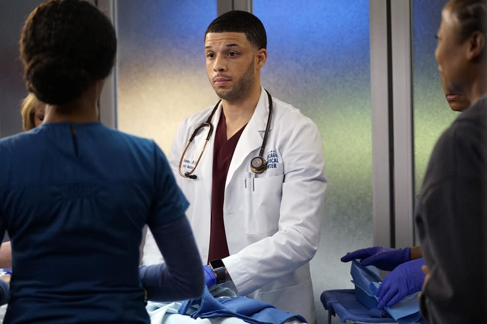"CHICAGO MED -- ""The Parent Trap"" Episode 317 -- Pictured: Roland Buck III as Noah Sexton -- (Photo by: Elizabeth Sisson/NBC)"