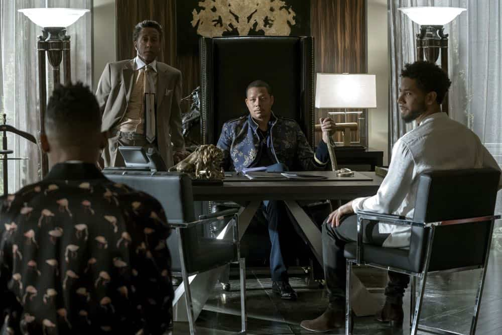 "EMPIRE: L-R: Andre Royo, Terrence Howard, Jussie Smollett and Bryshere Gray in the ""False Face"" episode of EMPIRE airing Wednesday, April 25 (8:00-9:00 PM ET/PT) on FOX. CR: Fox Broadcasting Co. CR: Chuck Hodes"