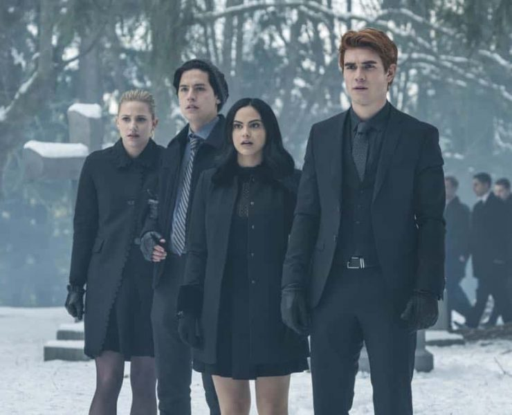 "Riverdale -- ""Chapter Thirty-Two: Prisoners"" -- Image Number: RVD219b_0294.jpg -- Pictured (L-R): Lili Reinhart as Betty, Cole Sprouse as Jughead, Camila Mendes as Veronica and KJ Apa as Archie -- Photo: Katie Yu/The CW -- © 2018 The CW Network, LLC. All Rights Reserved."